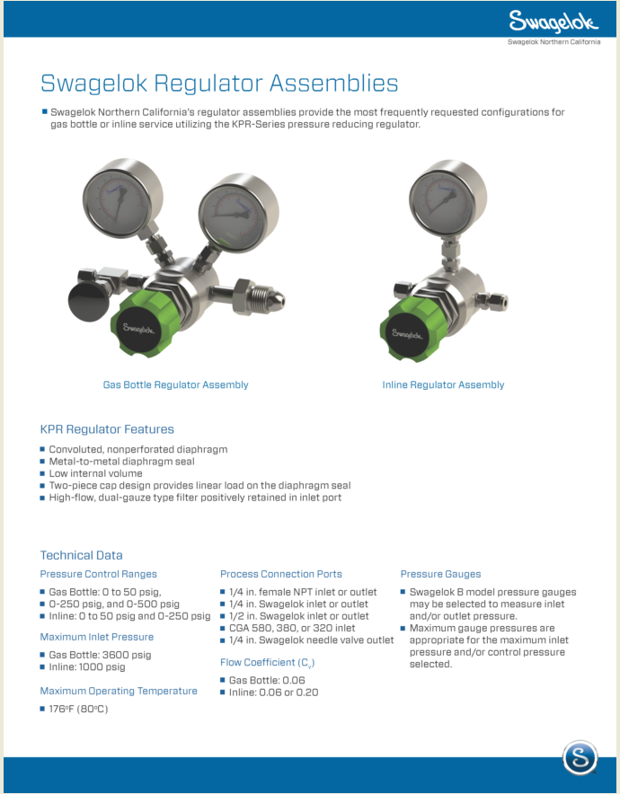Swagelok Quick Turn Regulator Assembly Program Delivers Just In Time