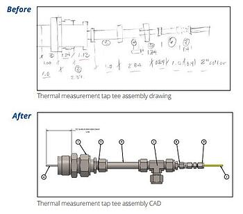 Before and after of the thermocouple mounting design