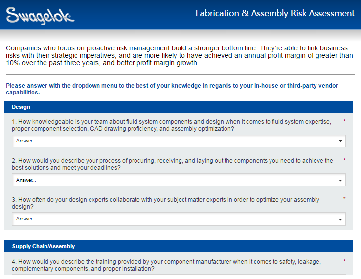 Assess your Risk with our Fabrication and Assembly Risk Assessment Tool