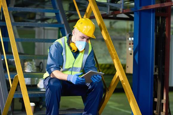 plant worker using digital tablet